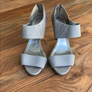 J. Crew grey strappy shoes